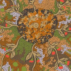 Bush Sweet Potato Green - Authentic Aboriginal Fabric