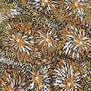 Emu Bush Brown - Authentic Aboriginal Fabric