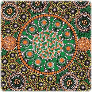 Fresh Life After Rain Green - Authentic Aboriginal Fabric
