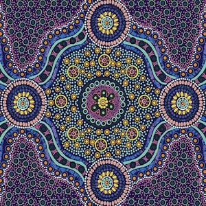 Wild Bush Flowers Purple - Authentic Aboriginal Fabric