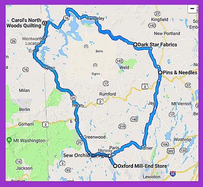2018 Western Maine Fall Shop Hop Map