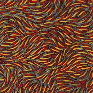 Bush Yam Red - Authentic Aboriginal Fabric