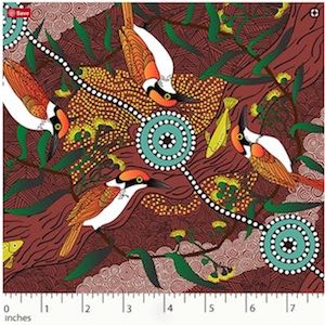 Kingfisher Camp by River Red, Authentic Aboriginal Fabric