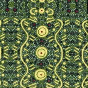Water Dreaming Green - Authentic Aboriginal Fabric