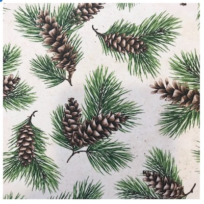 Pine Cone and Tassel, Wildflowers of Maine Fabric