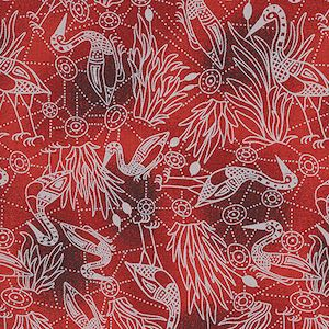 Brolga Dreaming Red, Authentic Aboriginal Fabric