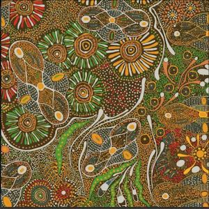 Bush Tucker After Rain Green, Authentic Aboriginal Fabric