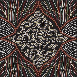 Koko's String Black, Authentic Aboriginal Fabric