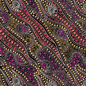 Spirit Dreaming Purple, Authentic Aboriginal Fabric