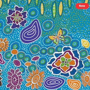 Summertime Rainforest Blue, Authentic Aboriginal Fabric