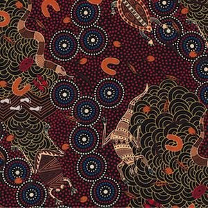 Around Waterhole Red - Authentic Aboriginal Fabric