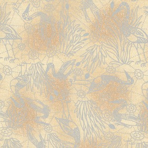 Brolga Dreaming Ecru - Authentic Aboriginal Fabric