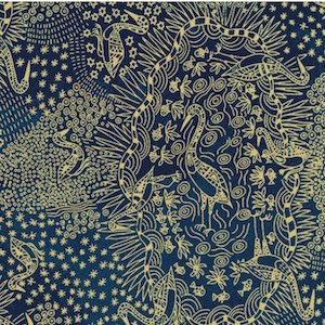 Brolga Life Blue - Authentic Aboriginal Fabric