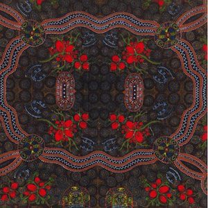 Bush Food Red - Authentic Aboriginal Fabric