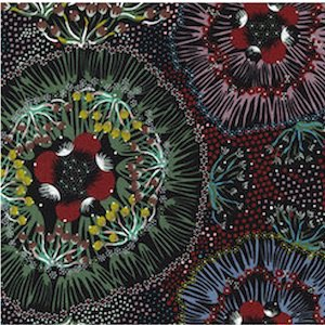 Bush Plum Black - Authentic Aboriginal Fabric