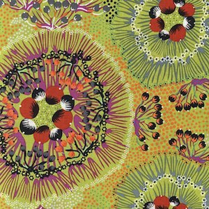 Bush Plum Green - Authentic Aboriginal Fabric