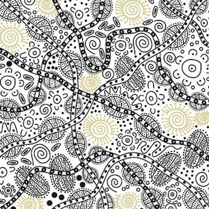 Bush Tucker White - Authentic Aboriginal Fabric