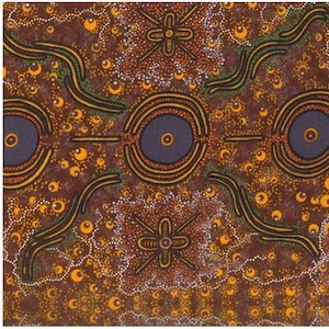 Dreamtime Knowledge Burgundy - Authentic Aboriginal Fabric
