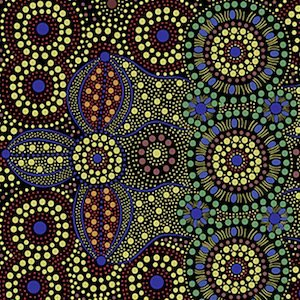 Spirit Place Black - Authentic Aboriginal Fabric
