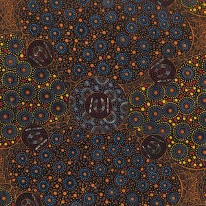 Women Collecting Water Orange - Authentic Aboriginal Fabric