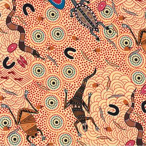 Around Waterhole Ecru, Authentic Aboriginal Fabric