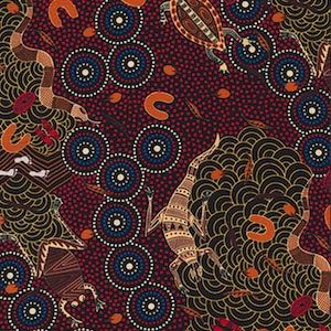 Around Waterhole Red, Authentic Aboriginal Fabric