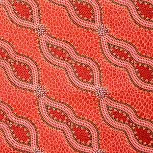 Bush Spinifex Tango Red, Authentic Aboriginal Fabric