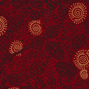 Bush Tucker Red, Authentic Aboriginal Fabric