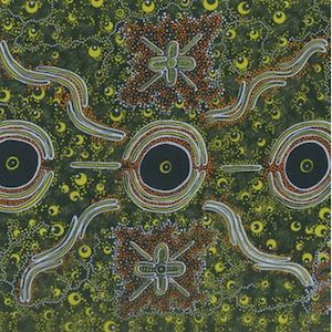 Dreamtime Knowledge Green, Authentic Aboriginal Fabric