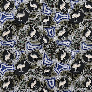 Emu Dreaming Black, Authentic Aboriginal Fabric