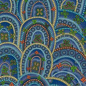 Rebirth Butterfly Spirits Blue, Authentic Aboriginal Fabric
