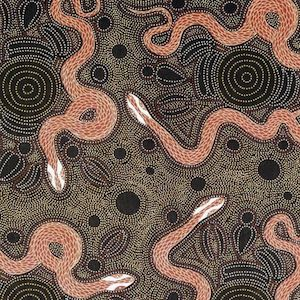 Snake And Emu Charcoal, Authentic Aboriginal Fabric