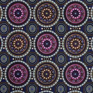 Bush Berry Blue, Authentic Aboriginal Fabric