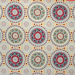 Bush Berry Ecru, Authentic Aboriginal Fabric