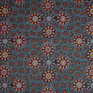 Ladies Collect Wild Fruit Gold, Authentic Aboriginal Fabric