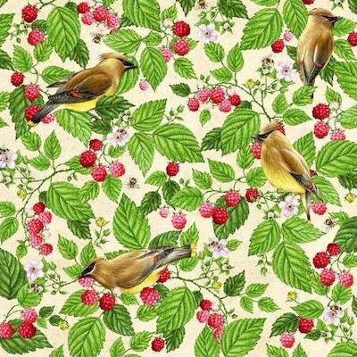Cedar Waxwing with Raspberry, Birds and Berries of Maine Fabric