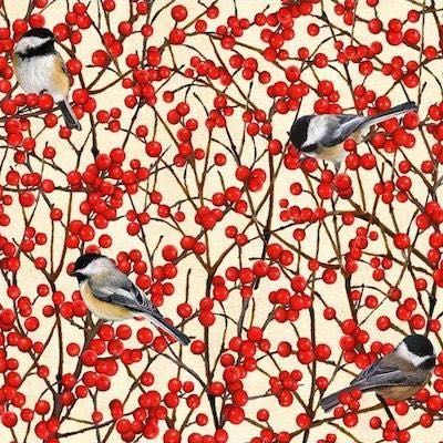 Chickadee with Winterberry, Birds and Berries of Maine Fabric