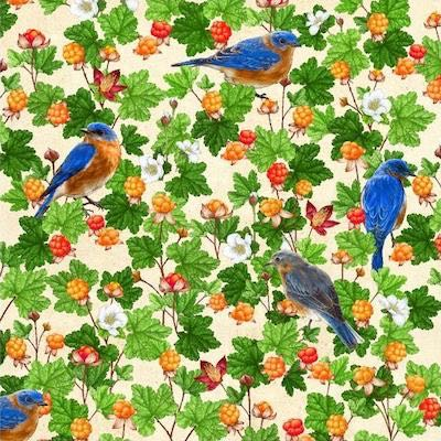 Eastern Bluebird with Cloudberry, Birds and Berries of Maine Fabric