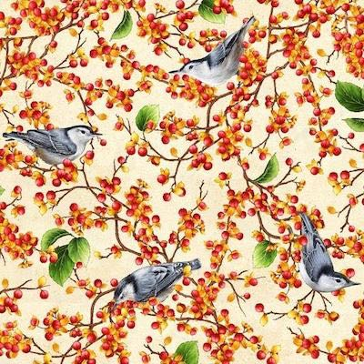 Nuthatch with Bittersweet, Birds and Berries of Maine Fabric