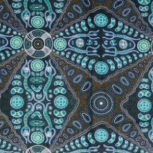 Spirit People 2 Green, Authentic Aboriginal Fabric