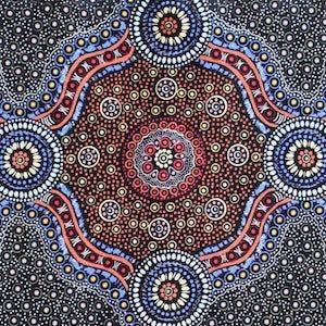 Wild Bush Flowers Black, Authentic Aboriginal Fabric