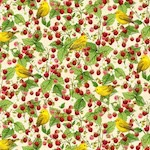 Yellow Warbler with Strawberry, Birds and Berries of Maine Fabric