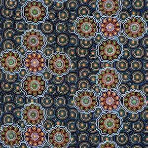 Ladies Collect Wild Fruit Blue, Authentic Aboriginal Fabric