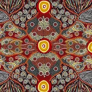 Wild Coconut Black, Authentic Aboriginal Fabric