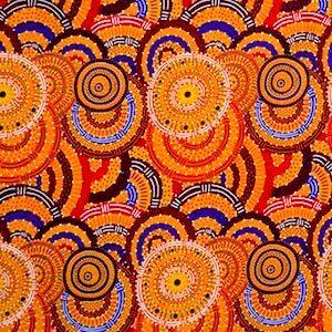 Women's Body Dreaming Mustard, Authentic Aboriginal Fabric