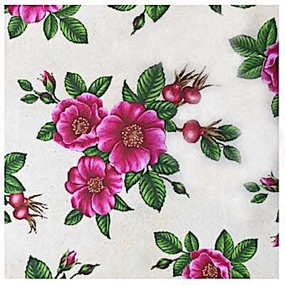 Sea Rose (Rugosa Rose), Wildflowers of Maine Fabric