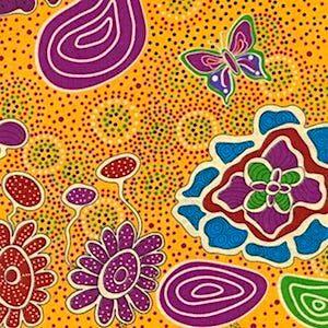 Summertime Rainforest Yellow, Authentic Aboriginal Fabric