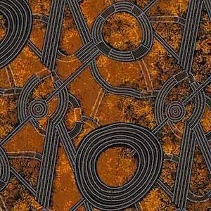 Bush Plum 2 Gold, Authentic Aboriginal Fabric
