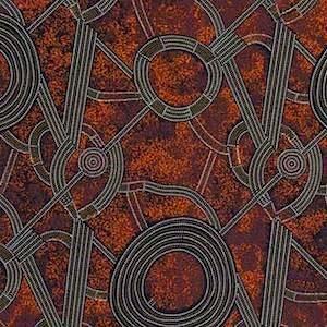 Bush Plum 2 Red, Authentic Aboriginal Fabric