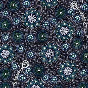 Gathering Bush Tucker Black, Authentic Aboriginal Fabric